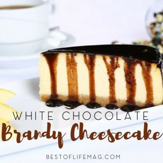 This delicious White Chocolate Brandy Cheesecake Recipe is amazing and a favorite dessert recipe for many, especially when entertaining! Romantic Dessert Recipes | Romantic Recipes | Recipes for Couples | Valentine's Day Recipes | How to Make Cheesecake | How to Make Cake
