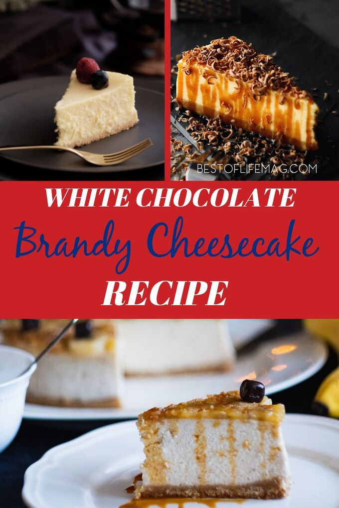 This delicious White Chocolate Brandy Cheesecake Recipe is amazing and a favorite dessert recipe for many, especially when entertaining! White Chocolate Recipes | Valentine's Day Recipes | Dessert Recipes | Holiday Recipes | Cheesecake Recipes #dessert #recipe via @amybarseghian