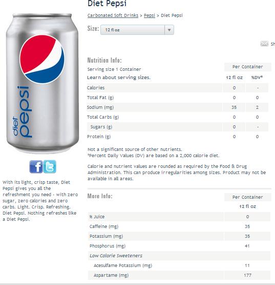 diet pepsi nutrition facts - slubne