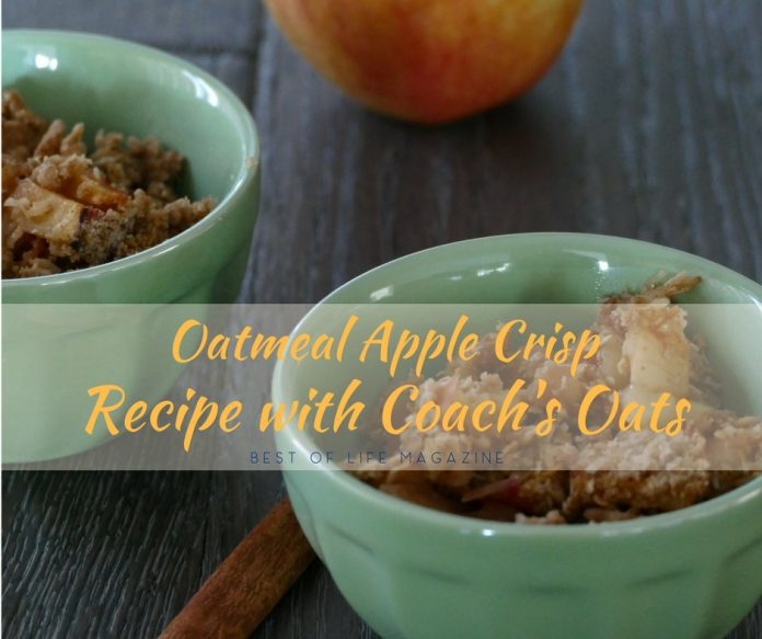 This Coach's Oats oatmeal apple crisp recipe is perfect for a healthier dessert or as an easy warm apple breakfast dish. Easy Breakfast Recipes   Breakfast Recipes   Oatmeal Recipes   Holiday Recipes   Entertaining Recipes   Recipes for Kids   Coach's Oats Recipes