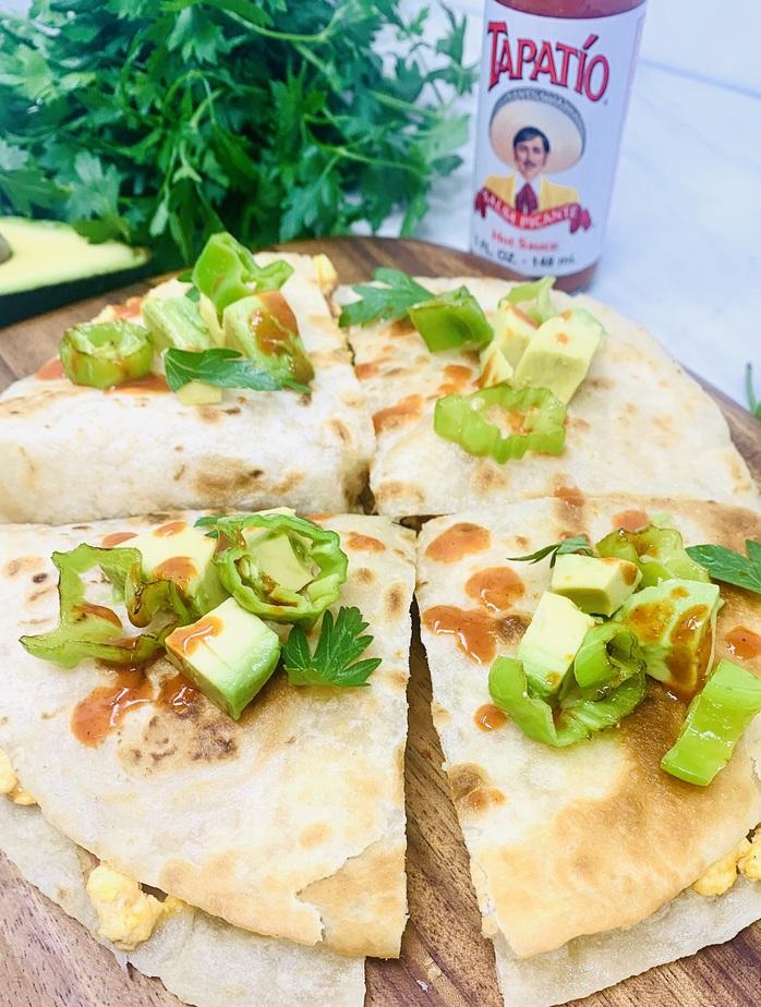 Breakfast Quesadilla Recipe Close Up of a Quesadilla Cut into Quarters
