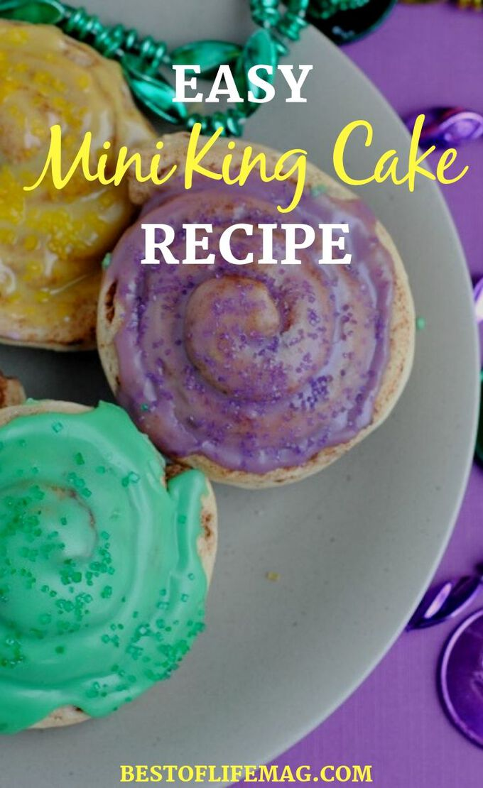 Everyone will love this Mini King Cake Recipe that is easy to make and full of color! The best part is, kids can help make this one. Cake Recipes | Dessert Recipes | King Cake Ideas | Pastry Recipe | Mardi Gras Recipes | Mardi Gras Desserts #kingcake #recipe
