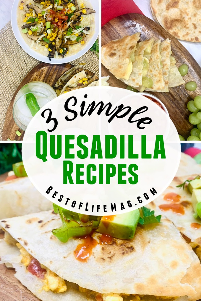Enjoy these three simple and delicious quesadilla recipes with only five ingredients or less for breakfast, lunch, or dinner! They will satisfy any craving you may have! Breakfast Quesadilla Recipe | Grape Quesadilla Recipe | Savory Quesadilla Recipe | Quesadillas for Adults | Party Recipes | Family Dinner Recipes | Easy Appetizer Recipes | Quick Breakfast Recipes #quesadillarecipes #dinnerrecipes via @amybarseghian