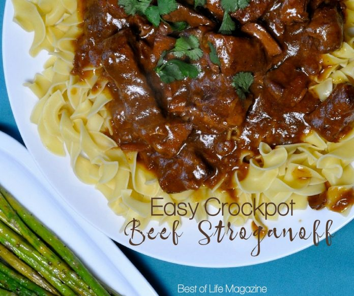 Enjoy this easy beef stroganoff crockpot recipe for a weeknight meal or with guests. The golden mushroom soup adds flavor and it has only SIX ingredients.