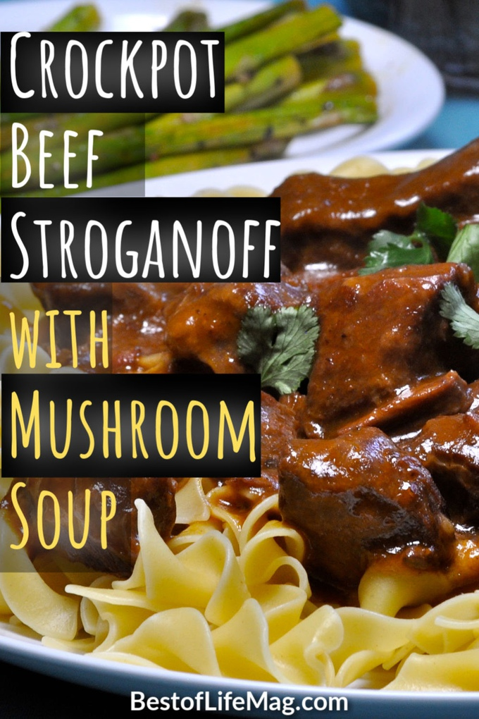 Enjoy this easy beef stroganoff crockpot recipe for a weeknight meal or with guests. The golden mushroom soup adds flavor and it has only SIX ingredients. Stroganoff Recipes | Beef Stroganoff Recipes | Slow Cooker Stroganoff | Crockpot Stroganoff | Slow Cooker Recipes | Crockpot Recipes #crockpot #recipes via @amybarseghian