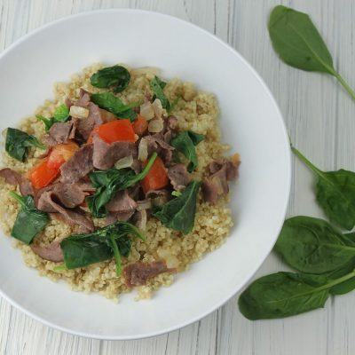 This recipe for sautéed spinach and beef can be served with quinoa or brown rice and allows you to get in a large serving of healthy spinach in the process! The best part is that everyone in the family will love this easy recipe. Healthy Recipes   How to Cook Quinoa   How to Cook Spinach   How to Eat Healthy   Recipes with Spinach   Healthy Recipes with Beef