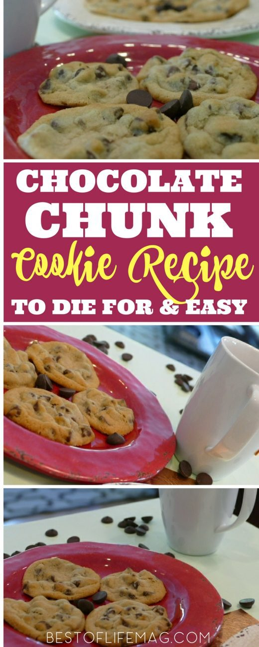 This famous chocolate chunk cookie recipe can also be made with chocolate chips if you are out of chunks and is guaranteed to be the best cookie recipe in your home. Cookie Recipes | Chocolate Recipes | Chocolate Chip Cookie Recipes | Dessert Recipes #cookies #recipes