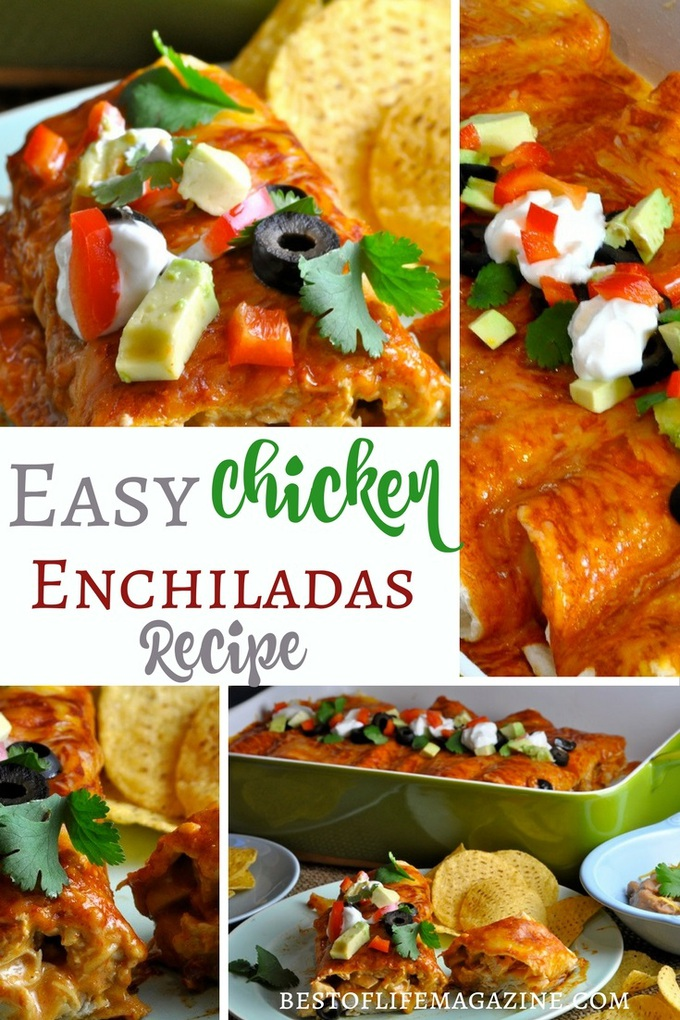 This easy chicken enchiladas recipe tastes like what you find at your favorite Mexican restaurant. Pair with a red or green sauce of your liking and you have a top ten family recipe on your hands! Enchilada Recipes | Mexican Recipes | Fiesta Recipes | Chicken Recipes | Easy Chicken Recipes #tacotuesday #recipe