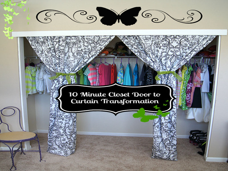 This 10 minute closet door to curtain transformation will give any room a beautiful facelift!