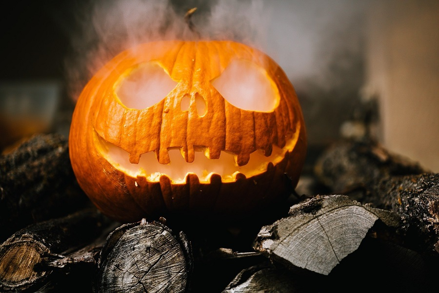 Halloween Recipes for All Ages Carved Pumpkin with Smoke Coming from the Eyes