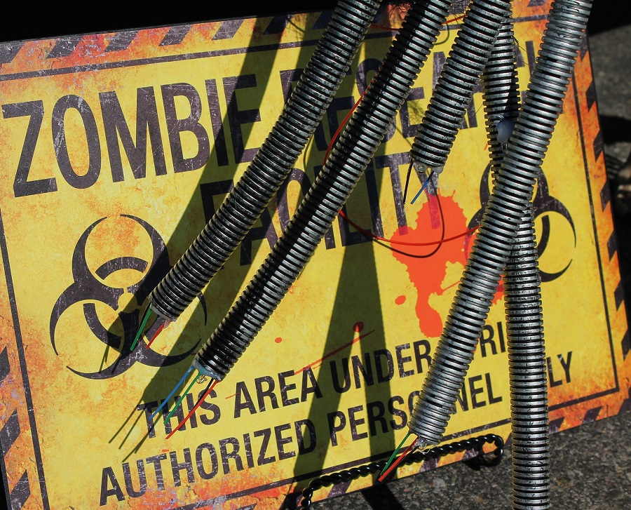 Halloween Recipes for All Ages A Zombie Warning Sign with Wires Hanging in Front of It