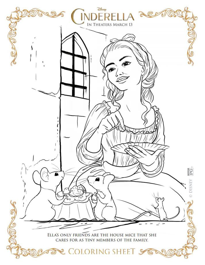 Coloring Sheet Cinderella And Her Mice