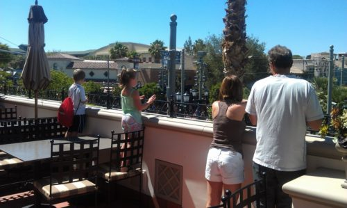 watch parades from Carthay Circle terrace