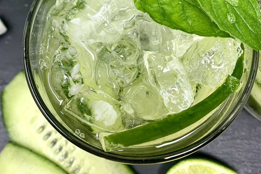 Sparkling Cucumber Cooler with Gin Cocktail Overhead Close Up of a Cocktail