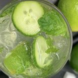 Sparkling Cucumber Cooler with Gin Cocktail Overhead View of a Cocktail