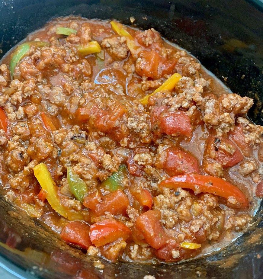Slow Cooker Beef and Brown Rice Recipe Ingredients Cooking in a Crockpot