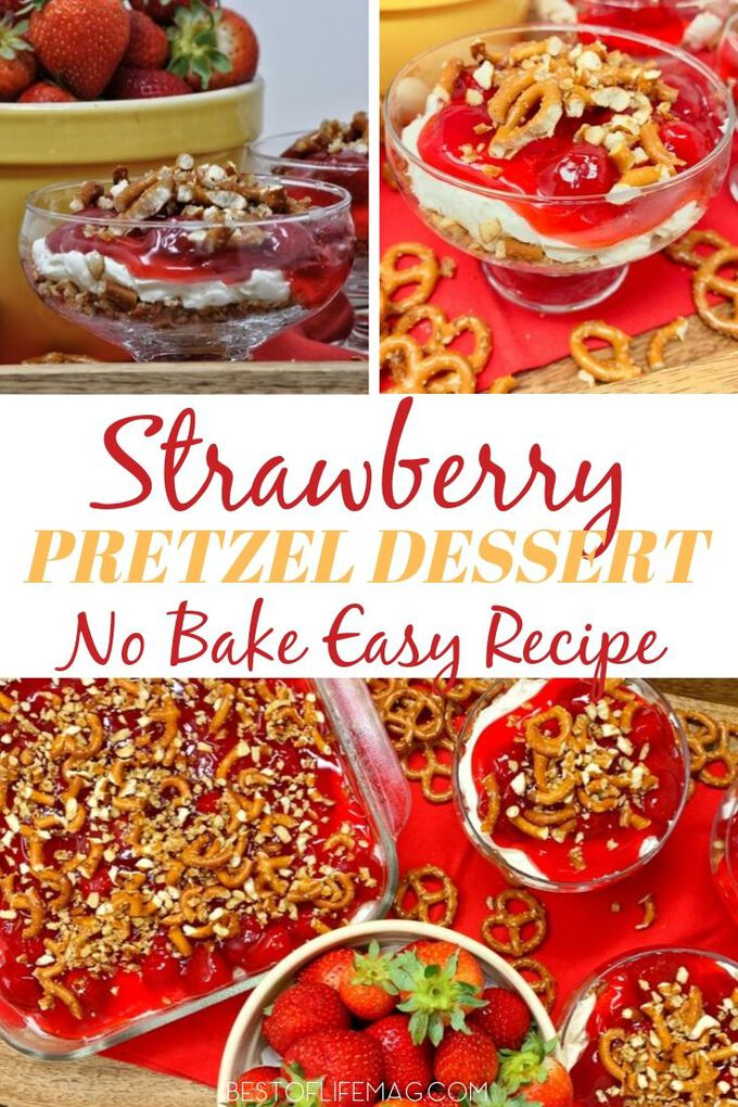 Strawberries take on a whole new meaning in this super easy strawberry pretzel dessert recipe that the whole family is sure to love! Dessert Recipes | Holiday Recipes | Easy Recipes | Snack Recipes | No-Bake Dessert Recipes #desserts #recipes via @amybarseghian
