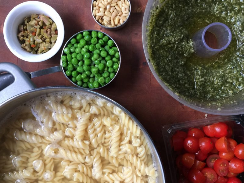 Yes, this really is the PERFECT pesto pasta salad to make anytime of the year. The colors are beautiful and the flavors please the palate.