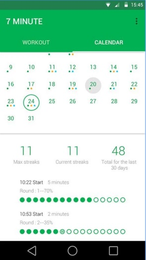 7 Minute Workout App Calendar