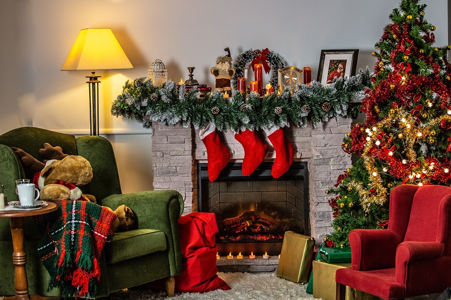 Stocking Stuffers for Women Distant View of a Fireplace and Stockings