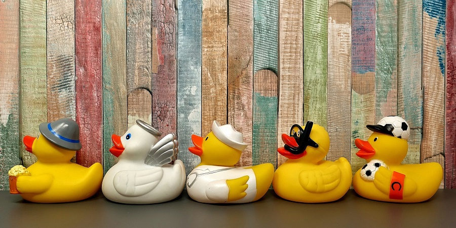 Stocking Stuffer Ideas Row of Rubber Duckies