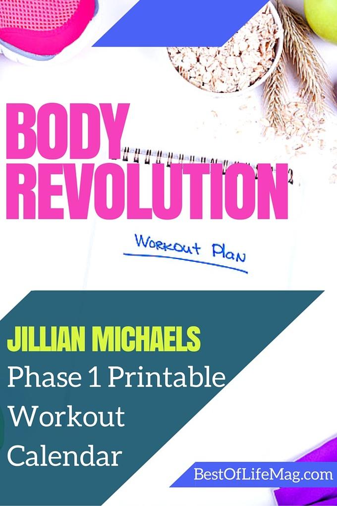 Jillian Michaels Body Revolution Printable Workout Calendar - Phase 1