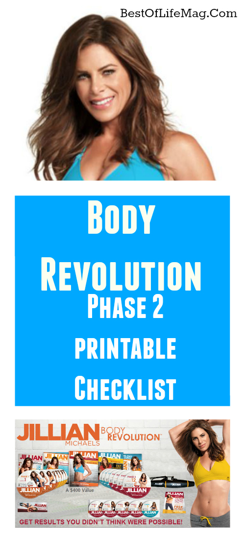 After you complete Phase 1 move onto Jillian Michaels Workout Rotation of Body Revolution Phase 2 with this printable workout rotation checklist. via @amybarseghian