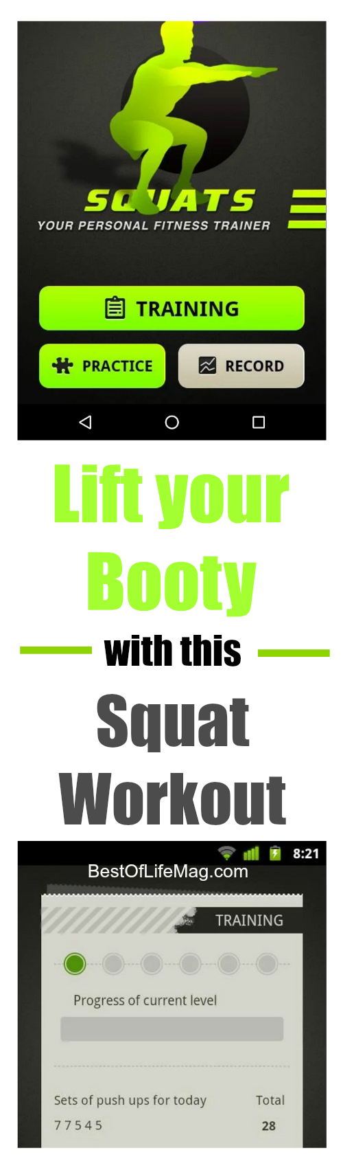 Lift your booty with the Squats Workout app that can help you monitor your calories, stay motivated, and tone that body once and for all!