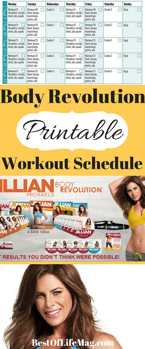 A workout schedule can keep you on track and increase your success rate for a program. This Body Revolution Printable Workout Schedule includes Phases 1-3 of Jillian Michael's proven workout. via @amybarseghian