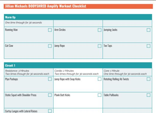 This printable Bodyshred workout plan will take you through Jillian Michael's Bodyshred Amplify workout with an easy to use checklist.