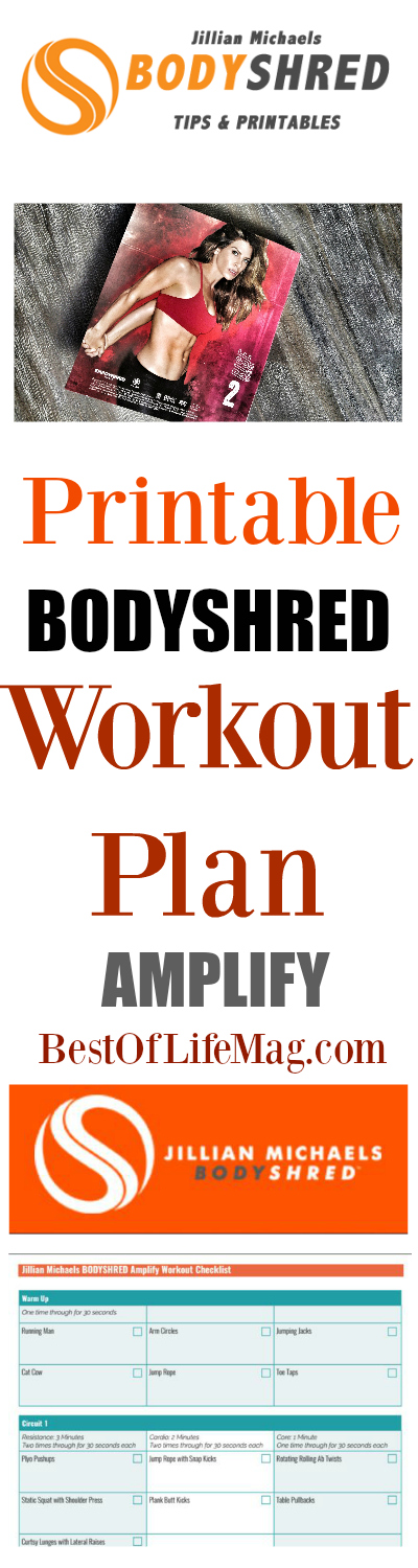 This printable Bodyshred workout plan will take you through Jillian Michael's Bodyshred Amplify workout with an easy to use checklist. via @amybarseghian