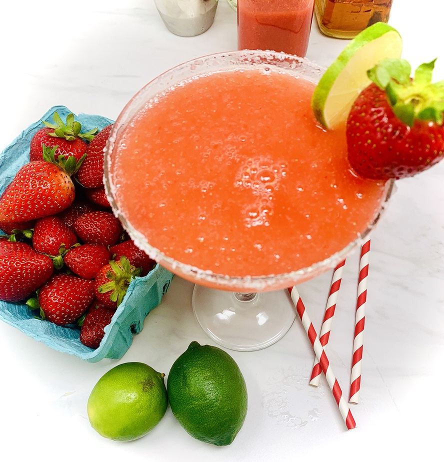 Strawberry Margarita Recipe Overhead View of a Margarita Glass Filled with Frozen Margarita