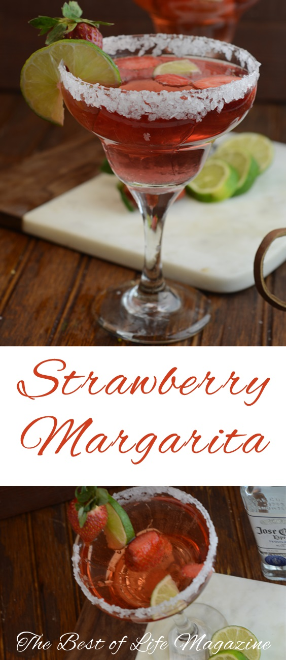Say cheers with this yummy Strawberry Margarita Recipe! With puree and simple ingredients it is easy to make and beautiful to serve for guests and happy hour!