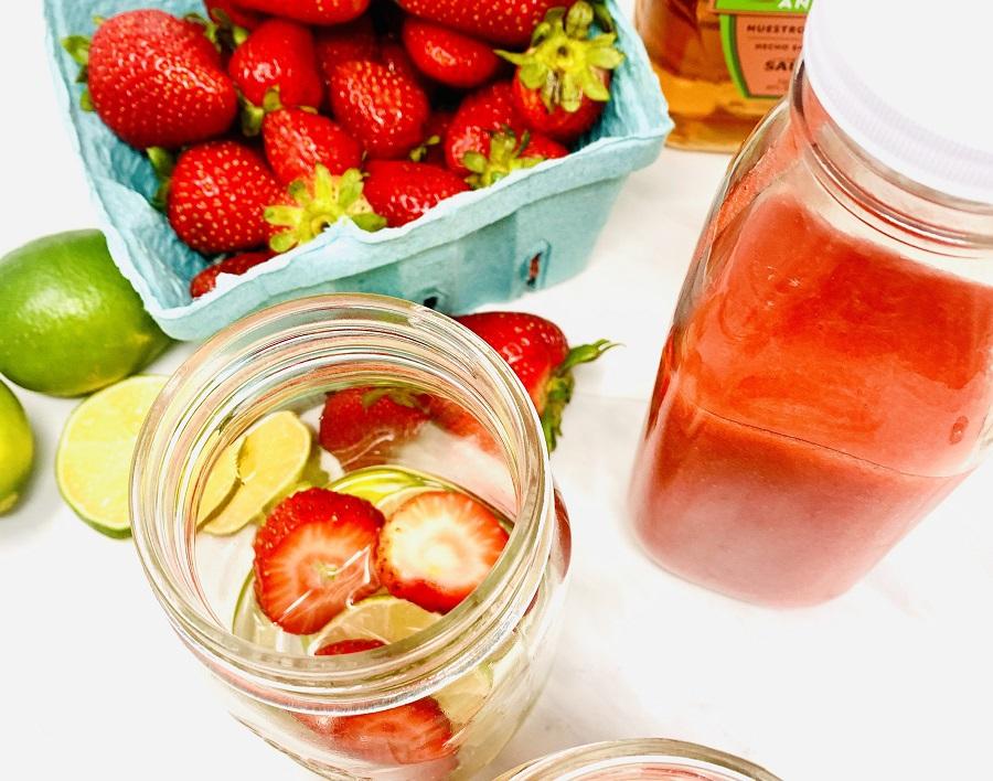 Strawberry Margarita Recipe Overhead View of a Jar with Margarita Inside