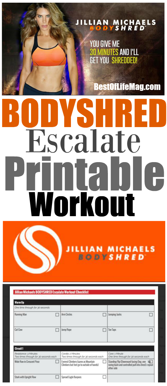 Our BODYSHRED Escalate Printable Workout Checklist will help you stay on track with your BODYSHRED workout program no matter where you are. Print and get it done!
