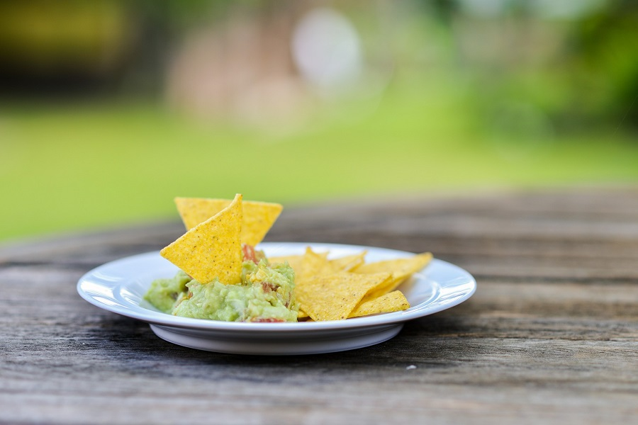 Cinco de Mayo Foods Guacamole on a Plate with Chips Sticking Out From it