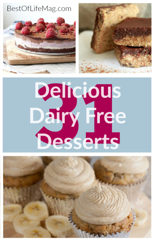 Eating dairy free doesn't mean you have to sacrifice your favorite treats. These dairy free desserts are perfect for your allergy restrictions! Dairy Free Recipes | No Dairy Diet Recipes | No Dairy Desserts | Dairy Free Desserts | Allergy Diet Foods