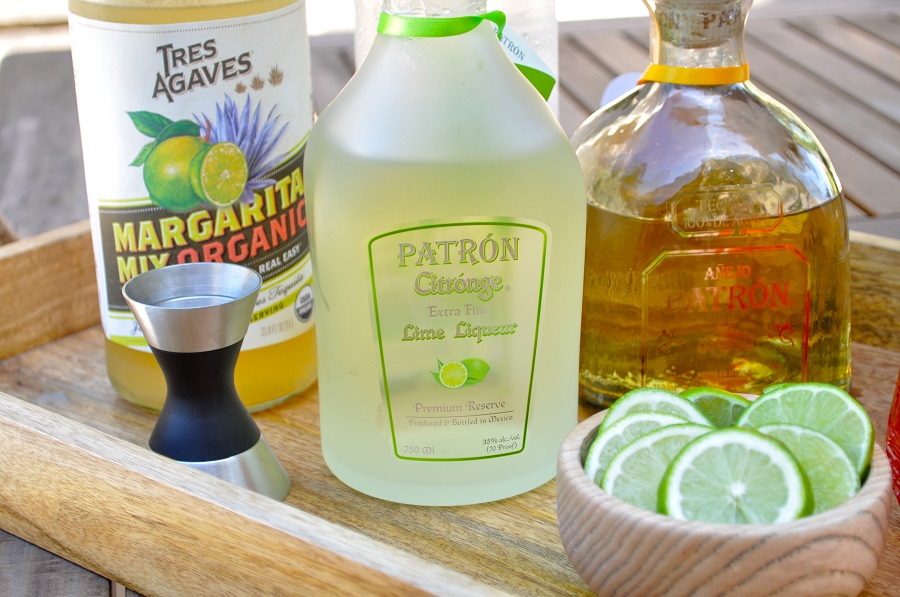 One of our latest margaritas we have been making at home is this lime Patron margarita recipe with a hint of Patron lime liquor. It is smooth and fresh on the palate!