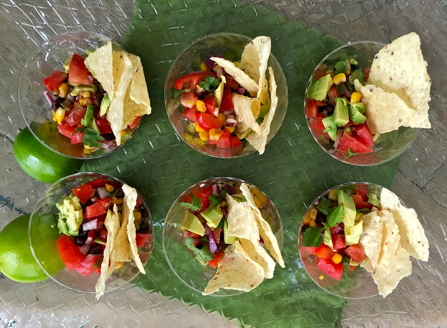 Black Bean Salsa Separated into Plastic Cups