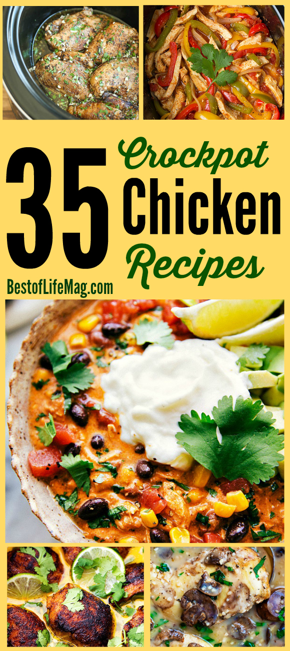 Save time in the kitchen with these crockpot chicken recipes! They are perfect weeknight meals or as holiday recipes. Slow Cooker Chicken | Chicken in the Crockpot | Chicken Recipes | Slowcooker recipes | Slow Cooker Chicken Recipes