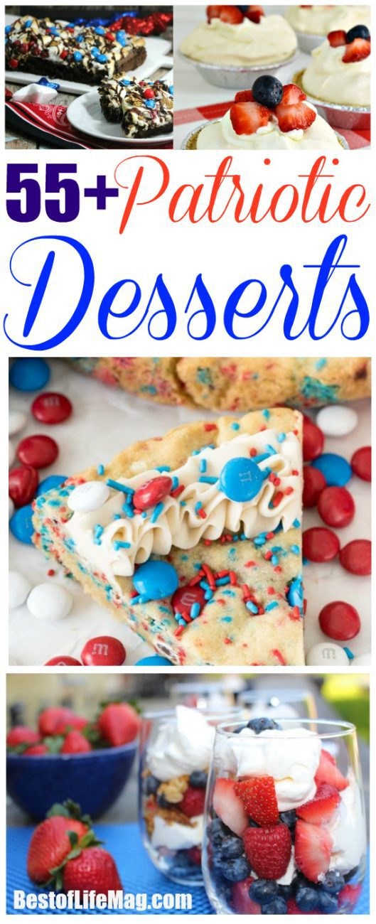 Take your summer party to a new patriotic level with these amazing patriotic dessert recipes! With over 55 to choose from you can show your true love of the USA!