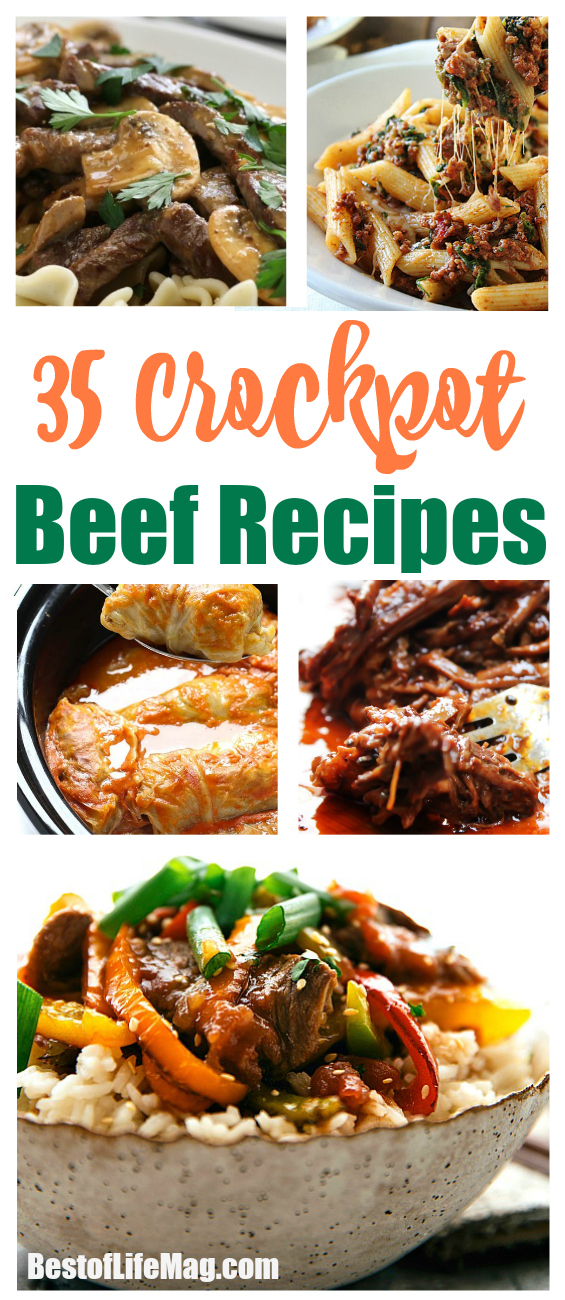 Choose your favorite cut of beef and throw it in the crockpot to make one of these delicious crockpot beef recipes. via @amybarseghian
