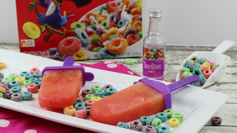 Alcoholic Vodka Popsicles with Fruit Loops