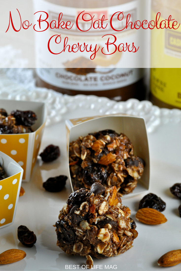 No Bake Oat Chocolate Cherry Bars are quick and easy to make and they're awesome for on the go snacking or breakfast options!