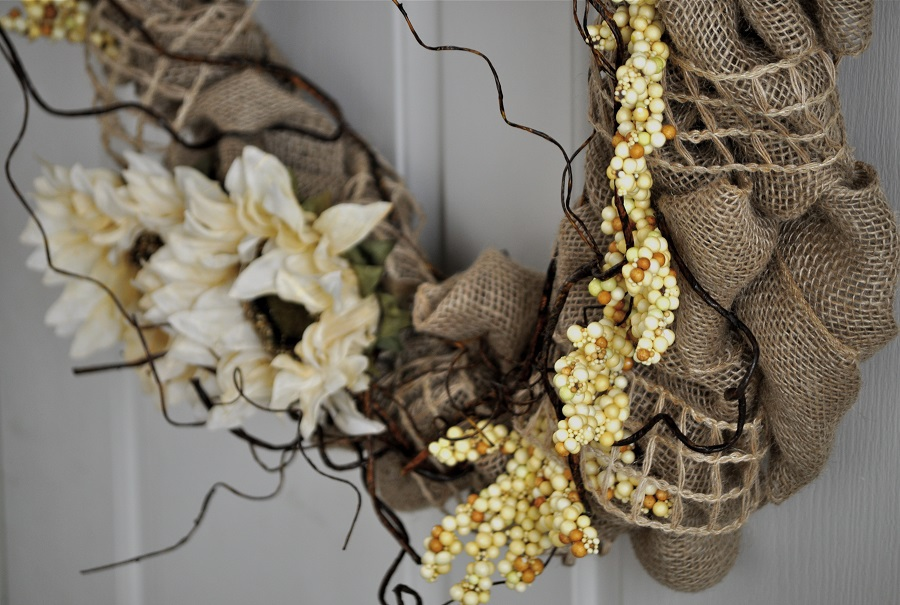 DIY Burlap Wreath for Fall - Our neutral fall DIY burlap wreath keeps your home looking chic and stylish throughout the entire season with its Restoration Hardware inspired design.
