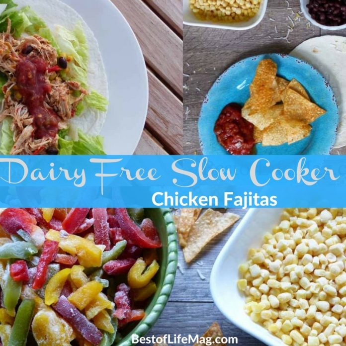 These dairy free slow cooker chicken fajitas have an extra kick of flavor so you won't feel like you are missing a thing without cheese! If you want to add a dairy free cheese on top, even better.