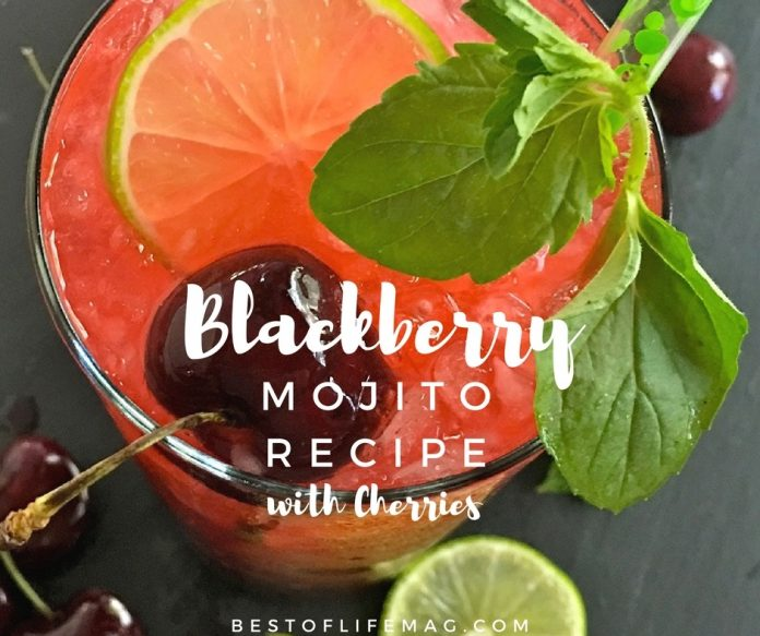Beautiful and filled with flavor, this blackberry mojito recipe with cherries is perfect for parties or just a cocktail at home alone.