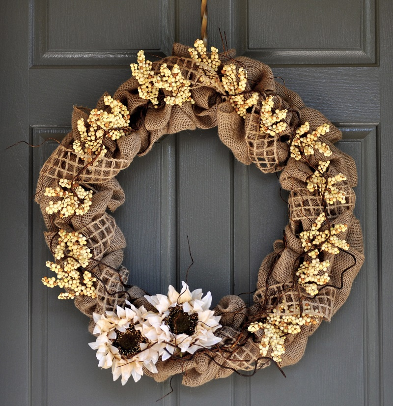 Our neutral fall DIY burlap wreath keeps your home looking chic and stylish throughout the entire season with its Restoration Hardware inspired design.