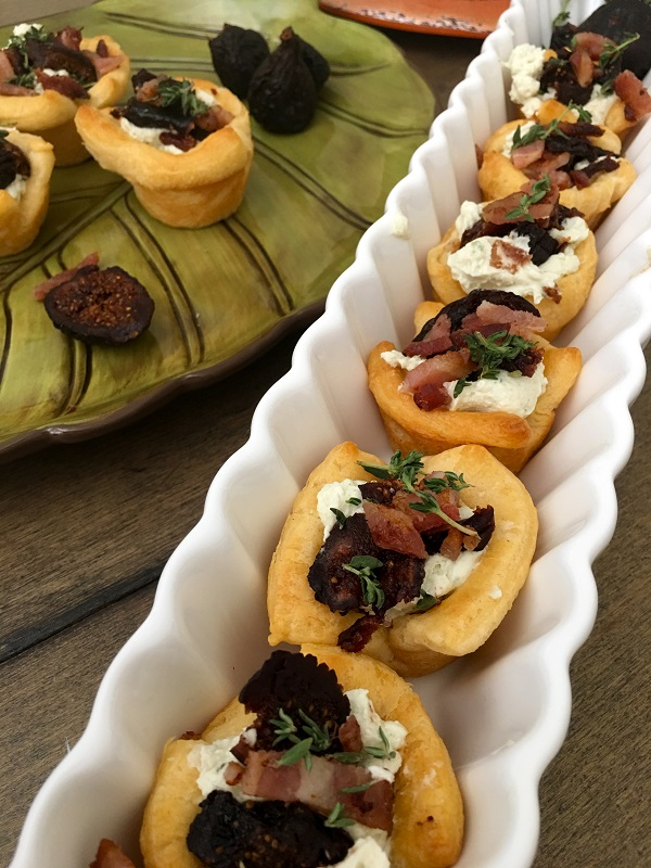 Guests will love these bacon fig and jalapeno goat cheese pastry cups as an appetizer or light meal!