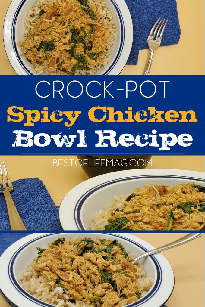 This crock-pot spicy chicken bowl recipe is made with peanut sauce and spinach making it a healthy and easy dinner any night of the week. Easy Crock-Pot Recipes | Healthy Crock-Pot Recipes | Slow Cooker Recipes | Chicken Bowl Recipes | Dinner Recipes with Chicken | Meal Planning Recipes with Chicken via @amybarseghian